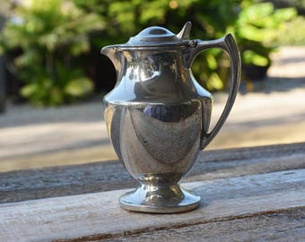 Universal Co Silverplate Covered Pitcher, Silver plate Covered Jug, Silverplate Serving for Vintage Home Decor, Silver Syrup pitcher