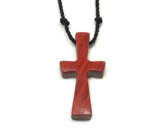 Men's Cross Necklace, Mens Jewelry Cross, Minimalist Cross Necklace, Recycled Reclaimed Red Heart Wooden Religious Pendant