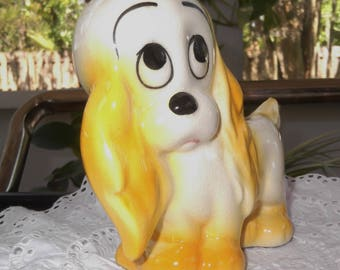 Vintage Ceramic Dog Planter Cocker Spaniel Puppy Dog Planter Yellow Puppy Planter