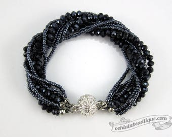 Dark gray Multi strand Crystal bracelet gray beaded jewelry multistrand bracelet charcoal crystal bracelet sparkly evening bracelet gift