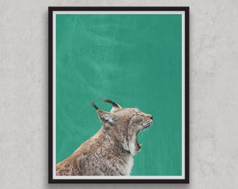Lynx Print, Safari Nursery Wild Animal Print, Jungle Animal Wall Art, Bobcat, Woodland Decor, Bedroom Art, Digital Printable, Emerald Green
