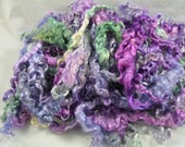 "Lilacs & Wisteria, Curly Fine Kid Mohair Locks in Shades of Purple and Green, 3-5"" Staple, Perfect for Doll Hair, Spinning, Felting, Batts"