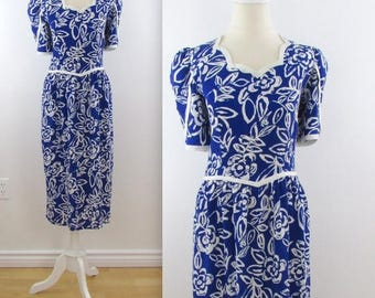 SALE Maggy Sapphire Petal Dress - Vintage 1980s does 50s Royal Blue Wiggle Dress in Small Medium