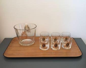 Vintage Gold Crest Lion Ice Bucket, Wine Chiller and set of 6 Rocks Glasses