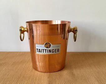 Vintage Copper Taittinger Ice/Champagne Bucket with Brass Handles, Made in France