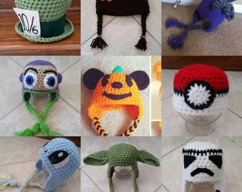 SPECIAL SALE!!! On all crochet licensed character beanies listed