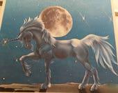 "Vintage 80's ""UNICORN WRITING TABLET""  Beautiful Blue Unicorn - Full Moon Background"
