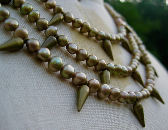 MAIA  Triple Strand Fresh Water Bronze Pearls with Brass Spikes