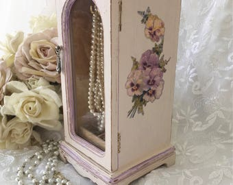 Shabby White Jewelry Box Vintage Painted Cabinet Victorian Pansy Armoire French