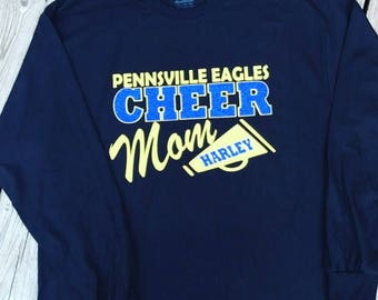 Cheer Mom Shirt Football and Cheer Mom with Glitter