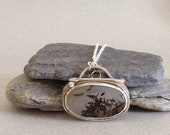 Toggle Clasp Necklace - Plume Agate Cabochon Necklace