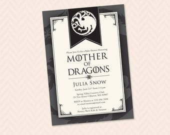 Mother of Dragons Baby Shower Invitation - Game of Thrones Inspired
