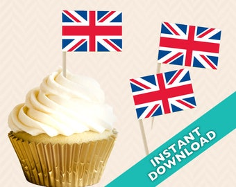 Union Jack British Toothpick Party Decoration - Food Flag, DIY printable food flag, cupcake topper, red white and blue