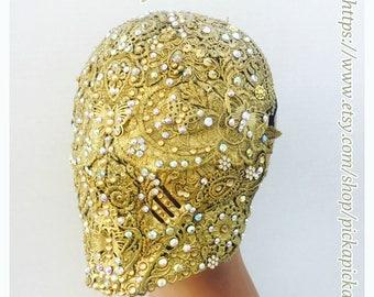 Full face golden mask,eyeless mask,gold crystal mask,full face crystal mask,full face mask,gold masquerade mask,filigree mask,crystal mask.