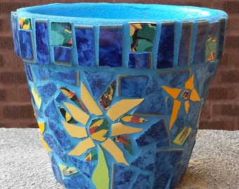 MOSAIC FLOWER POT Sunflowers Blue Garden Planter