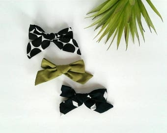 Set of three headbands nylon modern black white diamonds olive green polka dots vintage clip