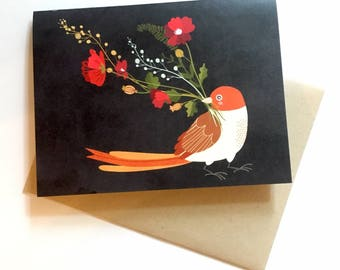 Red Bird with Flowers - A2 Greeting Card with Envelope