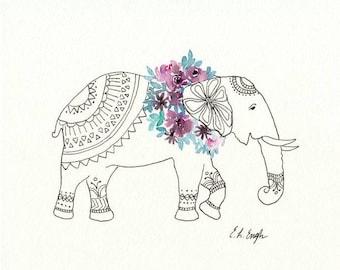 Boho Elephant, Nursery Art, Original Watercolor Painting, watercolor and ink, boho decor, purple flowers, boho painting, baby shower, 8x10