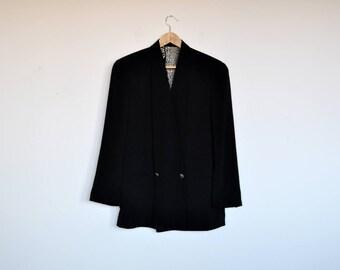 Vintage Bogie Oversized Long Black Blazer 90s Minimal Jacket