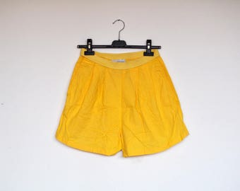 Vintage Pin Up High Waist Bright Yellow Cotton Shorts