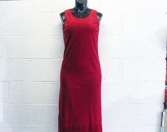 Vintage 90s Red Velvet/ Velour Maxi Dress / Long Red Dress / Velvet Dress Velour Dress Rose Red Dress