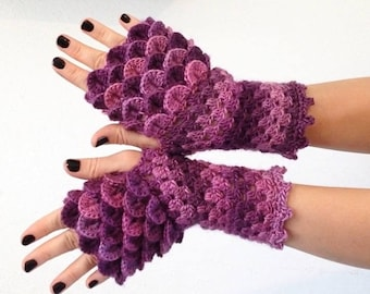 Dragon Gloves- Petunia Purple Fingerless scale multicolored, wrist hand arm warmers women crochet game of thrones khaleesi - MADE TO ORDER