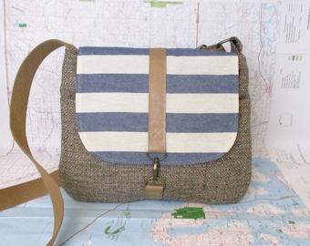 Nantucket-Crossbody purse - Messenger bag - Vegan purse - Travel bag - Shoulder bag - Stripes - Blue - Tan- Medium - Preppy - Ready to ship