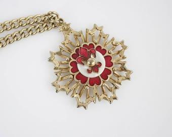 Vintage Brass Red Enamel Fleur De Lis Star Burst Pendant on Chain