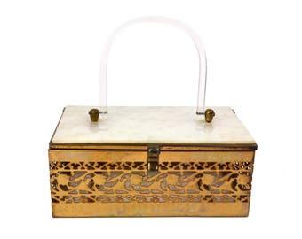 Vintage Lucite & Metal Box Purse // 1950s White Mother of Pearl Lucite Plastic, Goldtone Filigree Basket Handbag, Atomic, Hollywood Regency