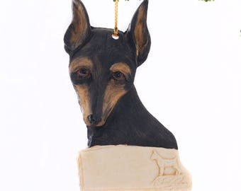 Black and Tan Miniature Pinscher  Ornament - personalized min pin ornament - Free Personalization  made from resin in the USA (383)
