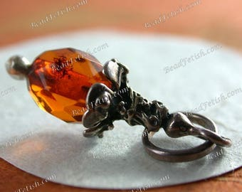 23 x 7mm Vintage 1990's Faceted Baltic Amber Artisian Designed 925 Sterling Silver Pendant Charm Authentic Lithuanian Baltic Amber SEM-002-2