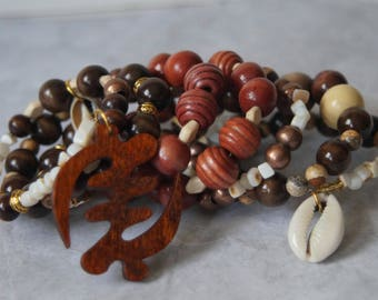 Tribal Inspired Beaded Wire Wrapped Bracelet With Matching Earrings Gye Nyame
