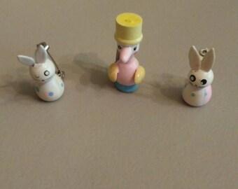 Trio of sweet pastel vintage wooden bunny/duck pins