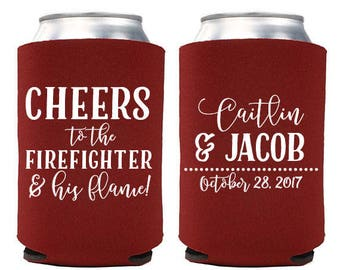 Custom Wedding Favor - Cheers to the Firefighter and His Flame Can Coolers