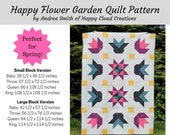 Happy Flower Garden Quilt PDF Pattern, Baby, Crib,Toddler, Throw, Queen, King,  floral, flower, half square triangles, flying geese, easy