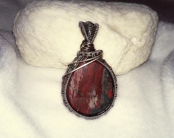 Sterling Silver Bloodstone Wire Wrapped Pendant / Wire Wrapped Jewelry / Healing Crystal