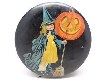 1920's Halloween Tin, Antique Tindeco Candy Container, Girl Dressed as Witch with Broom, Jack-o-lantern