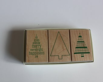Christmas Tree stamps, woodblock stamps, rubber stamps, Hero Arts, Fusion Trees, card making supply, scrapbook supply, paper stamping