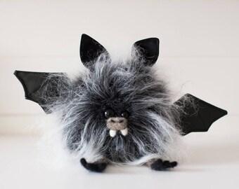 BRAMBLE -Plush Bat, OOAK Bat Soft Sculpture, Fibre Art, Plush, Halloween