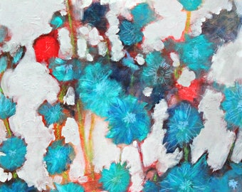 """Blue Flowers, Abstract Floral Painting, Wildflowers, Colorful """"Evening in the Chicory 16x20"""""""