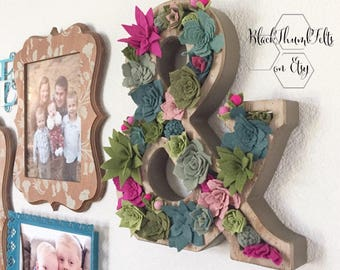 Succulent Vertical Garden, felt succulents, wood ampersand, large wall decor, home or wedding display, gift for her, ready to ship