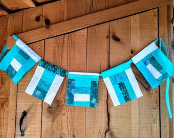 Teal and White Flags Bunting Prayer Flag