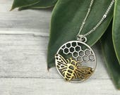 Bee necklace statement jewelry honeycomb inspirational mothers day stepmother gold honey bee necklace bumblebee godmother adopted