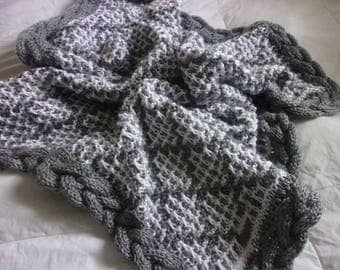 Hand knit baby blanket in 2 color diamond pattern with braid edge – ready to ship in gray and white!