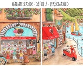 Italian Baby Nursery Or Red Italian Kitchen Wall Art, Set Of 2, Personalized Gelato Shop, Red Travel Themed Nursery, 6 Sizes - 5x7 to 24x36
