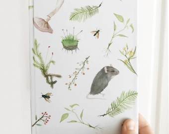 Hard Cover Botanical Journal 5.75x7.5 inch In the Meadow Print Diary