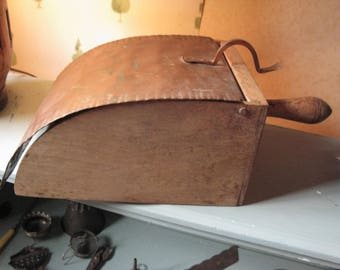 Antique Grain Scoop with Ingenious Copper Cover