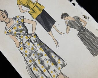 Vintage 1940s Sewing Pattern, Advance 6111, Wrap Dress with Pockets