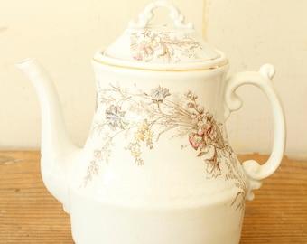 Antique White Ironstone Floral Tea Pot Coffee Pot Vase Display Decorating