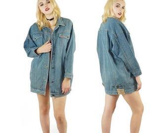 ON SALE Jordache 80s Denim Duster Jean Jacket, Oversized Vintage Grunge Jean Jacket, Light Wash, 80s Grunge, Women's Size Medium